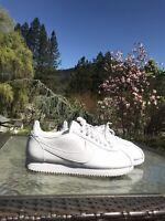 Nike Women's Classic Cortez White Leather Sneakers - Size 9.5 W