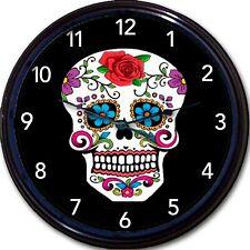 Skull Calavera Mexico Day of the Dead Wall Clock Dia de Los Muertos Sugar Skull