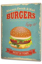 Tin Sign XXL Retro Hamburger metal plate plaque