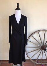 STEPHEN BURROWS Couture Vtg 70s Disco Black V-Neck Wrap Dress 10 RARE!
