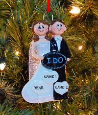 Just Married Wedding Couple - I Do - 1st Personalized Christmas Wedding Ornament