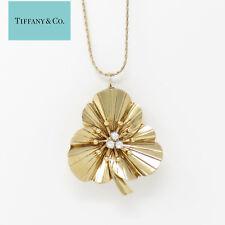 NYJEWEL Tiffany & Co. 14k Yellow Gold Diamond Floral Brooch Pendant Necklace