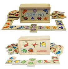 NEW TRADITIONAL CHILDREN'S WOODEN DOMINOES GAME, DINOSAURS OR SEALIFE DESIGNS