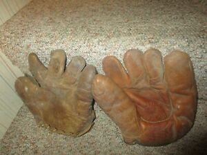 LOT TWO VINTAGE EARLY 1900S BASEBALL / SOFTBALL GLOVES MACGREGOR GOLDSMITH