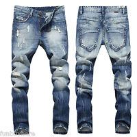 2017 Men's Long Straight Leg Trousers Slim Fit Casual Denim Pants Skinny Jeans