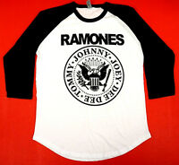The RAMONES T-shirt Distressed Punk Rock Raglan Baseball Tee Mens 3/4Sleeve New