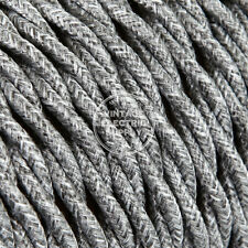 Grey Linen Twisted Cloth Covered Electrical Wire - Braided Linen Fabric Wire