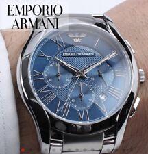 ••• Emporio Armani AR11082 Herrenuhr Chrono Edelstahl Farbe Silber Blau Neu •••