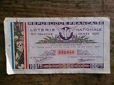 BILLET DE LOTERIE NATIONALE 1935 cinquième tranche (1000000 billets)