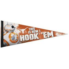 """TEXAS LONGHORNS STAR WARS BB-8 THIS IS HOW I HOOK'EM PENNANT 12""""x30"""" WINCRAFT"""