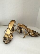 Coach Libertie Liberty Gold Python Embossed Chain Sandals Heels Shoes 8.5 B $248