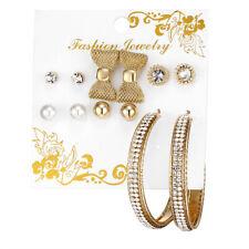 Women Ear Hoop Dangle Jewelry Gift 6Pairs Boho Circle Bowknot Earrings Set