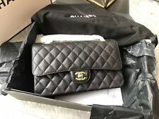 Authentic Chanel Medium Classic Flap Bag In Black Quilted Caviar Leather W/Gold