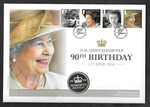 B.I.O.T. - 2016 HM the Queen's 90th Birthday medal PNC first day cover.