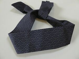 "Japanese Hachimaki Headband 37""L SEIGAIHA Wave Sushi Chief, Sports/ Navy Blue"