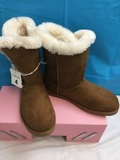 BRAND NEW GIRL'S CHEROKEE FASHION BOOTS CHESTNUT SIZE 4 FAUX FUR