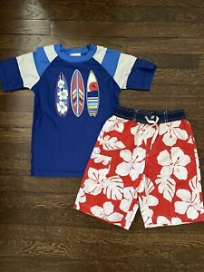 Hanna Andersson Boys Swimsuit Rashguard Set Surfboards Red Blue Size 6 (120)