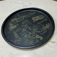 VINTAGE MAINE STATE SOUVENIR BLACK GOLD METAL TIN TRAY WITH LANDMARKS
