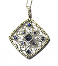 "14k White Gold Sapphire & Diamond Filigree Square Pendant 1mm Box Link 18"""