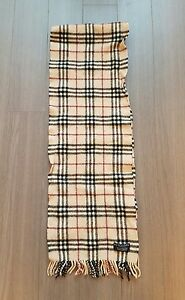 Vintage Authentic Burberry camel nova check 100% lambswool England Made scarf