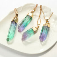 Irregular Rainbow Stone Natural Crystal Pendant Necklace Chakra Rock Quartz SL