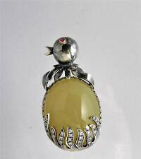 Vintage Jelly Belly Sterling Silver Chick Pendant/Brooch Genuine Pearl Necklace