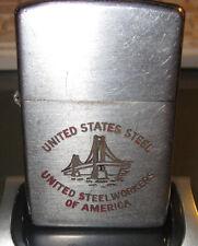 Zippo Lighter Vintage United States Steel USS Workers of America 1954 ADVERTISIN