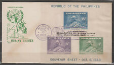 Philippine Stamps 1963 UN Declaration of Human Rights ovpt on UPU ss FDC