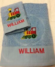 TRAIN PERSONALISED TOWEL SET GIFT BIRTHDAY PRESENT TRANSPORT HAND AND FACE CLOTH