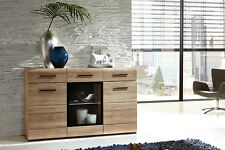 Wide Sideboard Cabinet Sonoma Oak Finish With LED Lights and Drawers Fever