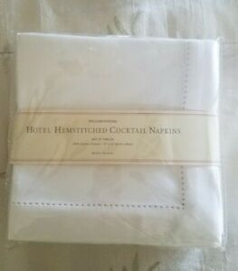 WILLIAMS SONOMA HOTEL HEMSTITCHED COCKTAIL NAPKINS SET OF 12