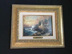 "Thomas Kinkade : ""The Light Of Peace"" w/ COA, Accent Canvas Gold Framed"
