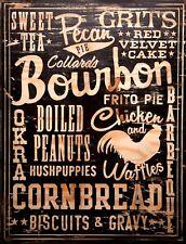 "TIN SIGN ""Bourbon Cornbread"" Liquor Art Deco Garage Wall Decor"