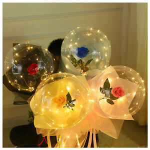 LED Light Balloon Rose Bouquet with Rose Flowers Bobo Balls Valentines Day Gifts