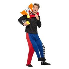 Piggyback Kidnap Clown Costume Mens Halloween Clown Mock Legs Jumpsuit