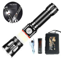 1000 Lumnes Magnetic T6 Zoom USB Rechargeable Flashlight LED 18650 COB Torch