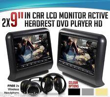 Black Pair 9 Inch Car Headrest Tablet DVD Player Wireless Controller SD USB HDMI