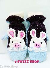 Japan ~ Tokyo Kawaii Cute Polka Dot Bunny Pig Rose Winter Mittens Gloves