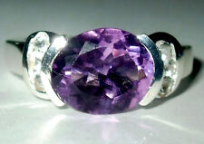 Natural Amethyst & Topaz Ring Sterling Silver.925
