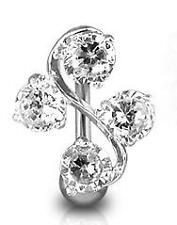 Clear Crystal Reverse Top Down Belly Bar Body Jewellery Navel Piercing