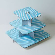 """12"""" Blue Cake Stand 3 Tier Square Cupcake Tree Party Deco Wedding Baby Shower"""