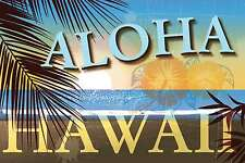 Blechschild - ALOHA HAWAII SURFER STRAND PALMEN DEKO SIGN   -  20x30 cm 23036