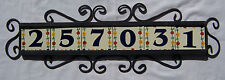 (#01) 6 Mexican Ceramic Tiles Numbers With  Iron Frame