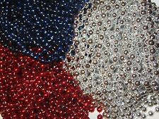 3 Dozen (36) Red, Silver & Blue Mardi Gras Beads Patriots Party - Free Shipping