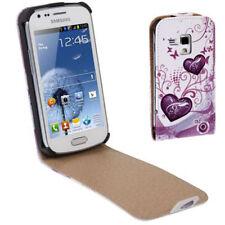 Flip Tasche für Samsung S7562 Galaxy S Duos Herzen pink weiß Etui Hülle Case