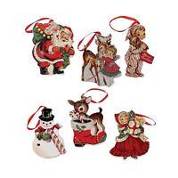 Bethany Lowe Retro Wood Ornaments Christmas Tree Santa Reindeer Vntg Style Decor