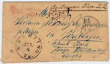TRANSATLANTIC 1854 STAMPLESS COVER FROM US TO GERMANY