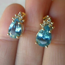 2Ct Pear Cut Blue Topaz Solitaire Stud Earrings Solid 14K Yellow Gold Finish