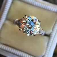 4 ct Round Cut VVS1 Diamond Womens Vintage Engagement Ring 14K White Gold Finish