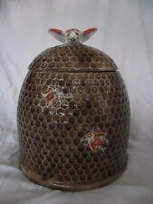 "ARNELS CERAMIC VTG COOKIE JAR POT 10""X 7.5' BROWN ORANGE RED HONEY BEE DECOR ART"